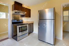 New Modern Kitchen New Modern Kitchen With Stove And Refrigerator Stock Photo