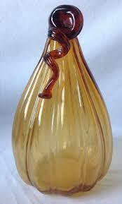 handblown amber art glass pumpkin gourd tall and 38 similar items 57
