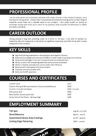 Free Resume Template For Truck Driving Job Download