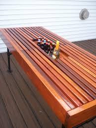 diy outdoor table with cooler. Cedar Outdoor Table With Built-in Wine \u0026 Beer Cooler Metal Pipe Legs. Diy E
