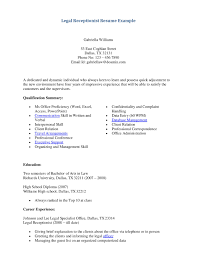 Receptionist Resume Objective Legal Resume Objective Administrative Assistant Internship Examples 21