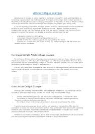Journal Sample Essay How To Write An Article Critique Example Apa