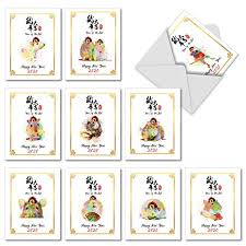chinese new year card 2020 year of the rat 2020 10 boxed chinese new year cards with envelopes 4 x 5 12 inch 2020 new years note cards cute rat watercolor painted