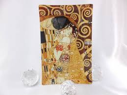 carmani 1990 gustav klimt the kiss gl plate 15 x 23 cm in gift box