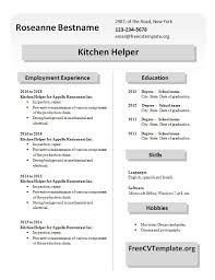 Kitchen Hand Resume Resume Examples Kitchen Helper Resume Templates