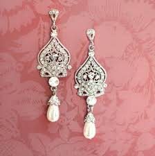 bridal chandelier earrings with pearls 1920s style bridal chandelier earrings with pearls