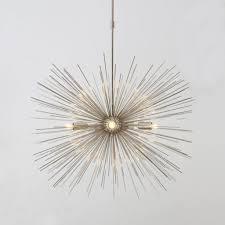 mid century modern large silver chrome starburst ceiling lamp light uk fan