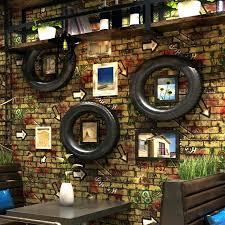 restaurant wall decor vintage brick pattern wallpaper red brick wall personality graffiti cafe restaurant wall cor