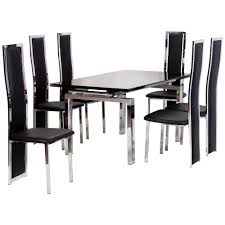 chrome glass extending dining table and chair set with 6 6 seater dining table and chairs