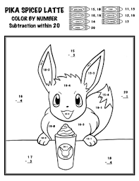 So each color is assigned a number, and the kids color the section according to the number. Pokemon Color By Number Add Subtract Multiply Divide Pika Spiced Latte