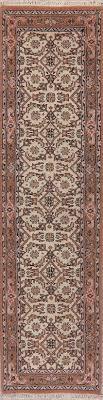 ivory geometric sarouk indo oriental runner rug