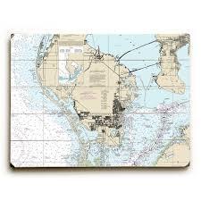Fl St Petersburg Fl Nautical Chart Sign Graphic Art Print On Wood