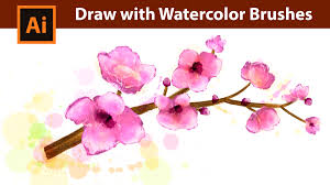 free watercolor brushes illustrator adobe illustrator watercolor drawing tutorial pink spring
