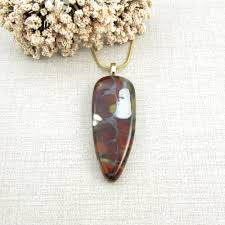 brown and white glass teardrop pendant white brown and caramel fused glass necklace