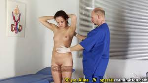 A submissive pussy in the medical shower and at the gyno exam