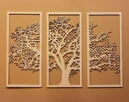 beautiful wooden wall hanging three parts tree