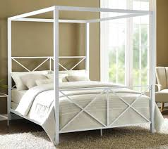 metal canopy bed frame queen size white cross headboard rails diy