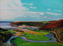 first oil painting in series of pennard pill through to three cliffs bay wet on