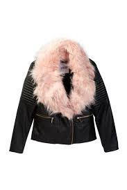 dknyfaux leather jacket with faux fur collar big girls