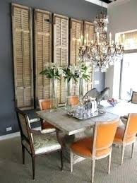 vintage shutters wall decor great mix of rustic and bling low the orange chairs reclaimed used
