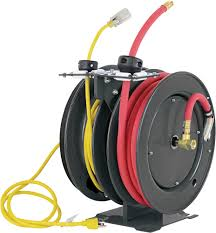 dual air hose and electric cord reel