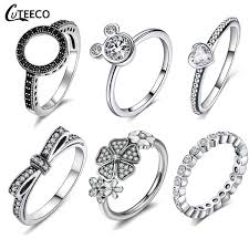<b>CUTEECO</b> Dropshipping Silver Color Clear CZ Wedding Ring Fit ...
