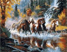 running horse diy oil painting by numbers digital oil painting kits frameless canvas wall decor gift