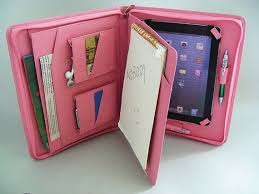 mini pink leather portfolio case with writing pad by leathercase 115 00