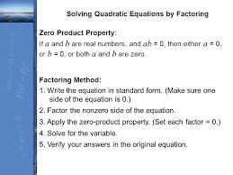 4 zero property solving quadratic equations