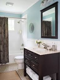 bathroom recessed lighting ideas espresso. BlueandBrown Bath Light Blue Walls Set The Stage For A Trendy Brownandblue Color Scheme That Showcases An Espressostained Vanity And Romantic Brown Bathroom Recessed Lighting Ideas Espresso E