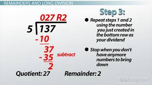 Long Division Process Chart Remainder In Math Definition Example