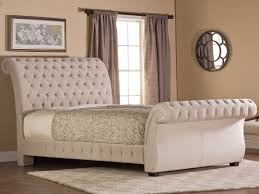 Bombay Fabric Upholstered Bed in Buckwheat by Hillsdale Furniture - Diamond  Tufted Fabric Upholstery Sleigh Bed
