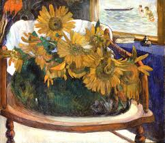 paul gauguin sunflowers on an armchair 1901