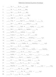 balancing equations practice worksheet answers chemical 1 chemistry worksheets exercises