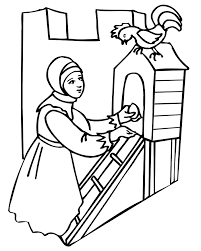 Small Picture Hen Coloring Page A Girl At A Henhouse