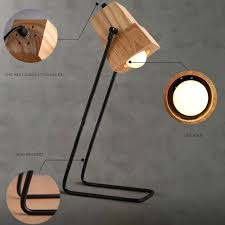 Brief Diy Assembles Wooden Desk Lamp Table Light Iron Holder With