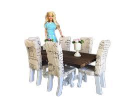 barbie furniture dollhouse. Kids Toys MiniMolly Dollhouse Furniture, Barbie Size Dining Table, 6 Chairs , French Style Upholstered CLMFDZJZAC Furniture O