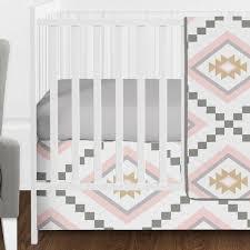 tribal aztec baby girl crib bedding set