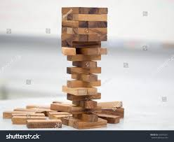 Game Played With Wooden Blocks Closeup Playing Wood Blocks Stack Game Stock Photo 100 49