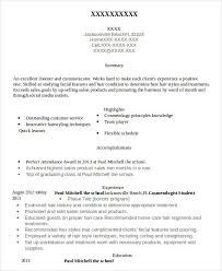 Resume For Cosmetology Student