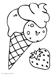 Ice cream cone with strawberry coloring page