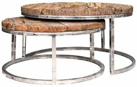 kensington recycled wood round coffee table with stainless steel frame set of 2