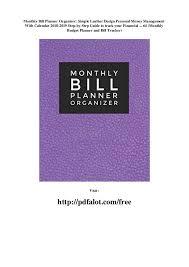 Monthly Bill Planner Organizer Simple Leather Design