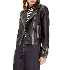 top washed wolf zipper moto jacket