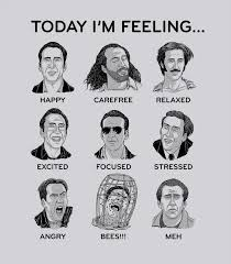 Nicolas Cage Emotion Chart Nick Cage Mood Board Print And Put Up In Your Office Use