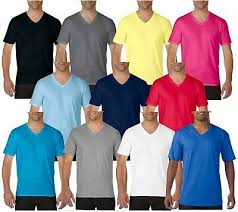 <b>Gildan MEN'S</b> T-SHIRT V-NECK PREMIUM SOFT COTTON PLAIN ...