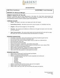 Restaurant Supervisor Job Description Resume Job Description Server Decoration Vibrant Dining Room Supervisor 45