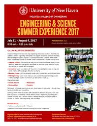 engineering science summer experience 2017 university of new haven engineering science summer experience 2017