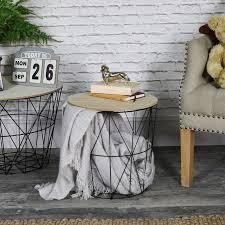 black metal basket side table