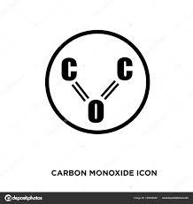 一酸化炭素アイコン フラット ベクトル署名の分離白れたら ストック